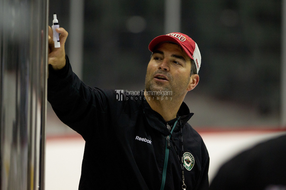 24 July 2012: Sebastien Laplante draws up a drill during the Minnesota Wild Development Camp at the Xcel Energy Center in St. Paul, Minnesota.