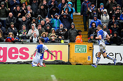 Dom Telford of Bristol Rovers celebrates his goal in front of the fans - Mandatory by-line: Neil Brookman/JMP - 30/03/2018 - FOOTBALL - Memorial Stadium - Bristol, England - Bristol Rovers v Bury - Sky Bet League One