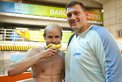 Bostjan Buc of Slovenia and Miro Vodovnik after thew competed during day four of the 20th European Athletics Championships at the Olympic Stadium on July 30, 2010 in Barcelona, Spain.  (Photo by Vid Ponikvar / Sportida)