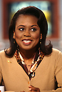 American lawyer and academic Anita Hill appears on the Sunday news talk show Meet the Press at NBC Studios March 22, 1998 in Washington, D.C. Hill became a national figure in 1991 when she accused U.S. Supreme Court nominee Clarence Thomas, her supervisor at the U.S. Department of Education and the Equal Employment Opportunity Commission, of sexual harassment.