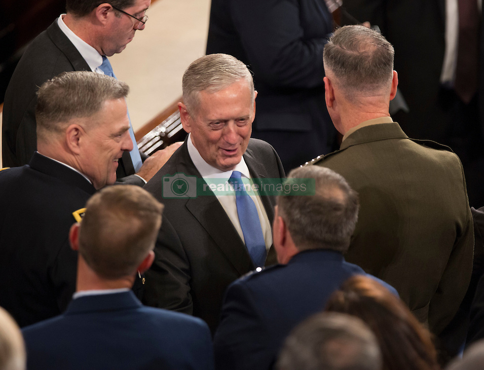 United States Secretary of Defense James Mattis speaks to members of the military before U.S. President Donald J. Trump addresses a joint session of Congress on Capitol Hill in Washington, DC, USA, February 28, 2017. Photo by Chris Kleponis/CNP/ABACAPRESS.COM