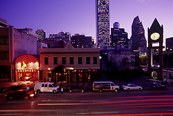 Stock photo of downtown Houston at night.