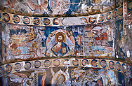 Pictures & images of the interior frescoes on the barrel vaulted roof of of Ubisa St. George Georgian Orthodox medieval monastery, Georgia (country)<br /> <br /> The 14th century lavish interior frescoes were painted by Gerasim in a local style known as Palaeologus  following Byzantine influences. .<br /> <br /> Visit our MEDIEVAL PHOTO COLLECTIONS for more   photos  to download or buy as prints https://funkystock.photoshelter.com/gallery-collection/Medieval-Middle-Ages-Historic-Places-Arcaeological-Sites-Pictures-Images-of/C0000B5ZA54_WD0s<br /> <br /> Visit our REPUBLIC of GEORGIA HISTORIC PLACES PHOTO COLLECTIONS for more photos to browse, download or buy as wall art prints https://funkystock.photoshelter.com/gallery-collection/Pictures-Images-of-Georgia-Country-Historic-Landmark-Places-Museum-Antiquities/C0000c1oD9eVkh9c