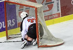Jean Philippe Pare crashed in a goal at 39th Round of EBEL League ice hockey match between HDD Tilia Olimpija and HK Acroni Jesenice, on December 30, 2008, in Arena Tivoli, Ljubljana, Slovenia. Tilia Olimpija won 4:3. (Photo by Vid Ponikvar / SportIda).