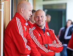 NEWPORT, WALES - Sunday, May 22, 2016: Fredrik Ljungberg and Cameron Toshack during the Football Association of Wales' National Coaches Conference 2016 at Dragon Park FAW National Development Centre. (Pic by David Rawcliffe/Propaganda)