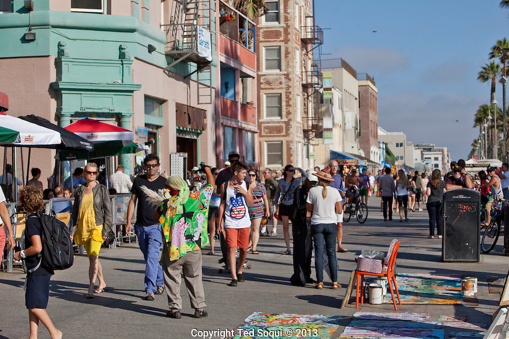 Scenes on the boardwalk of Venice Beach in Los Angeles