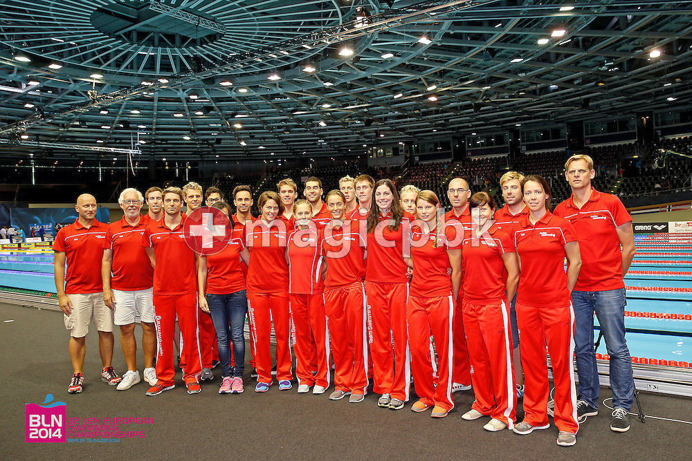 Team Switzerland poses for photo during the LEN European Swimming Championships at Europa-Sportpark in Berlin, Germany, Sunday, Aug. 24, 2014. (Photo by Patrick B. Kraemer / MAGICPBK)