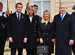 French President Emmanuel Macron and his wife Brigitte Macron receive Israeli Prime Minister Benjamin Netanyahu and wife Sara at the Elysee Palace, ahead of the international ceremony for the Centenary of the WWI Armistice of 11 November 1918, in Paris, France on November 11, 2018. Photo by Christian Liewig/ABACAPRESS.COM