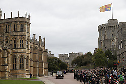 Princess Eugenie accompanied by her father the Duke of York arrive for her wedding to Jack Brooksbank at St George's Chapel, Windsor Castle.