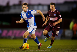Bristol Rovers Midfielder Ollie Clarke (ENG) is challenged by Portsmouth Midfielder Jed Wallace (ENG) during the match - Photo mandatory by-line: Rogan Thomson/JMP - Tel: Mobile: 07966 386802 - 21/12/2013 - SPORT - FOOTBALL - Memorial Stadium, Bristol - Bristol Rovers v Portsmouth - Sky Bet League Two.
