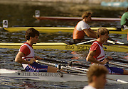 Bled, Slovenia, YUGOSLAVIA.  GBR M4X, {left} Bow Richard STANHOPE, Rory HENDERSON, 1989 World Rowing Championships, Lake Bled. [Mandatory Credit. Peter Spurrier/Intersport Images]