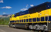 Alaska: Scenic close-up of the Alaska Railroad at the Denali Park Station.