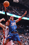December 21, 2002, Atlanta, Georgia, USA;  Allen Iverson of the Philadelphia 76ers drives to the basket for two of his 13 points against the Atlanta Hawks.  The 76ers lost 79-77 to the Hawks at Philips Arena.