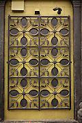 "Decorative art work made from pans outside Paula Deen's, ""Lady & Sons"" restaurant Savannah, Georgia, USA."