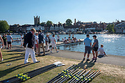 """Henley on Thames, United Kingdom, 29th June 2018, Friday, """"Henley Royal Regatta"""", Qualifying races, [Time Trails] Girl's Quadruple Sculls, Boating for their race over the, Regatta Course, Henley Reach, River Thames, Thames Valley, England, © Peter SPURRIER, 29/06/2018"""