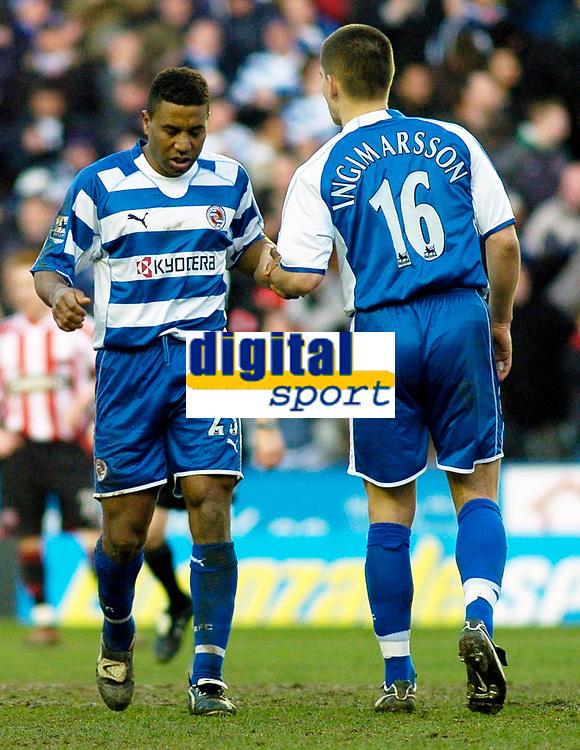 Photo: Gareth Davies.<br />Reading v Sheffield United. The Barclays Premiership. 20/01/2007.<br />Reading's Ulises De La Cruz (L) celebrates after scoring his first goal for Reading.