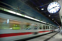 Express train travelling through Potsdamer Platz railway station Berlin 2009