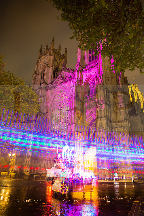 © Licensed to London News Pictures. 30/10/2015. York, UK. York Minster is lit up purple as part of the The tenth Illuminating York  festival that has taken place in the city, the event runs from Wednesday to Saturday & will see 50,000 people visit the the city. Photo credit: Andrew McCaren/LNP