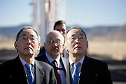pvc012612a/1-26-12/asec. U.S. Energy Secretary Dr. Steven Chu, tours Sandia National Laboratories, Thursday Jan. 26, 2012.  His reflection is seen in a solar heliosat.  (Pat Vasquez-Cunningham/Journal)