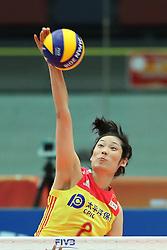 OSAKA, Oct. 10, 2018  Zhu Ting of China spikes during the Pool F match against the United States at the 2018 Volleyball Women's World Championship in Osaka, Japan, Oct. 10, 2018. China won 3-0. (Credit Image: © Du Xiaoyi/Xinhua via ZUMA Wire)