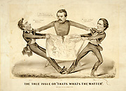The True Issue or 'That's What's the Matter' 1864. In a rare pro-Democrat cartoon presidential aspirant George Brinton McClellan is portrayed as the intermediary between Abraham Lincoln and Confederacy president Jefferson Davis. Currier & Ives