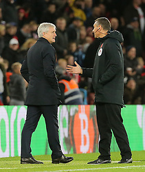 Southampton manager Mark Hughes talks to fourth official during the Premier League match at St Mary's Stadium, Southampton.
