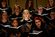 Jillian Jeffries, 17, center, of Tesoro High School, sings with the mixed choir during a Choral Music Camp at Chapman University in Orange, CA. The weeklong day camp for students in grades 9 through 12 is taught by Chapman University faculty members and instructors.