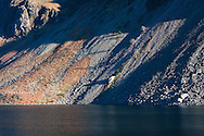 Sunlight catches the screes of Wastwater on a calm day in late Autumn.