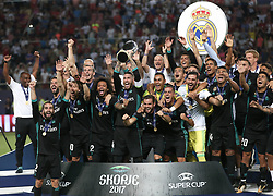 August 8, 2017 - Skopje, Macedonia - The Real Madrid team celebrate their win after the UEFA Super Cup match between Real Madrid and Manchester United at National Arena Filip II Macedonian on August 8, 2017 in Skopje, Macedonia. (Credit Image: © Raddad Jebarah/NurPhoto via ZUMA Press)