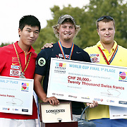 Brady ELLISON (USA) (C) and DAI Xiaoxiang (CHN) (L), Dmytro HRACHOV (UKR) (R) competes in Archery World Cup Final in Istanbul, Turkey, Sunday, September 25, 2011. Photo by TURKPIX