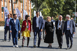 October 5, 2018 - Madrid, Spain - The founder of Spain Startup-South Summit, MARIA BENJUMEA(left),  SpainÃ•s Prime Minister, PEDRO SANCHEZ and the mayor of Madrid, MANUELA CARMENA (right) attending the closing acts of 'South Summit 2018', an event that for 3 days has brought together 'La Nave' to entrepreneurs from all over the world on Oct 5, 2018 in Madrid, Spain (Credit Image: © Jesus Hellin via ZUMA Wire)