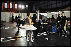 Secretary of State for Culture Jeremy Hunt backstage talking to the ballet dancer after she has just performed on stage at the Conservative Party Conference in Manchester, UK, Monday October 3, 2011. Photo By Andrew Parsons / i-Images.