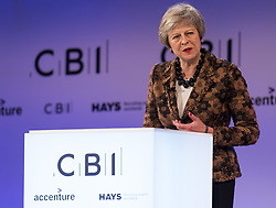 November 19, 2018 - London, London, United Kingdom - CBI Annual Conference. ..PM Theresa May is seen addressing a speech during the CBI Annual Conference 2018 at InterContinental Hotel, The O2. (Credit Image: © Gustavo Valiente/i-Images via ZUMA Press)