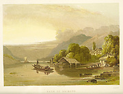 Lake of Brientz [Lake Brienz (Brienzersee) is a lake just north of the Alps, in the canton of Berne in Switzerland.] from the book  The theory and practice of landscape painting in water-colours illustrated by a series of twenty-six drawings and diagrams in colours and numerous woodcuts by Barnard, George, 1807-1890 Published in 1885 by George Routledge and Sons London