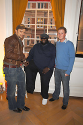 Left to right, GERRY DE VEAUX, ADE and GUY PELLY at a preview of Garrard's new collections and celebrates a Kaleidoscope of Colour at Garrard, 24 Albemarle Street, London on 10th May 2007.<br />