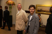 Michael White and his son Benjie White, Sothebys's Summer party, 7 June 2004. ONE TIME USE ONLY - DO NOT ARCHIVE  © Copyright Photograph by Dafydd Jones 66 Stockwell Park Rd. London SW9 0DA Tel 020 7733 0108 www.dafjones.com