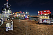 Harbour Offices and Mariasol Restaurant at the Blue HourAn Evening at Santa Monica Pier, Los Angeles, California, USA