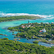 Aerial of the Akumal coastline. Riviera Maya, Mexico.