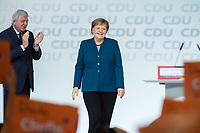 07 DEC 2018, HAMBURG/GERMANY:<br /> Angela Merkel, CDU, Bundeskanzlerin, nach Ihrer letzten Rede als Parteivorsitzende, CDU Bundesparteitag, Messe Hamburg<br /> IMAGE: 20181207-01-045<br /> KEYWORDS: party congress, Appluas, applaudiren, klatschen, Jubel