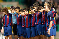 Photo. Jed Wee.Digitalsport<br /> Glasgow Celtic v Barcelona, UEFA Cup, Celtic Park, Glasgow. 11/03/2004.<br /> Barcelona players observe a minute's silence as a mark of respect for events in Spain.