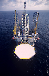 Stock photo of an aerial view of a jack up rig