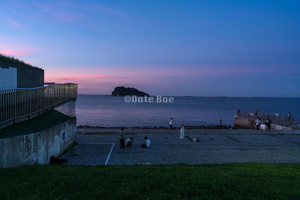 late evening at Umikaze park, Yokosuka with Tokyo Bay and Sarushima Island