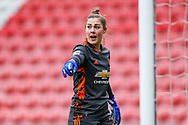 Manchester United goalkeeper Mary Earps (27) points instructions during the FA Women's Super League match between Manchester United Women and Reading LFC at Leigh Sports Village, Leigh, United Kingdom on 7 February 2021.