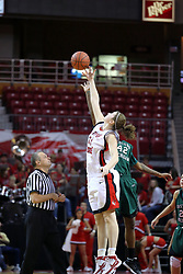 06 December 2008: Nicolle Lewis handles the tip off beating Shana McKinney to the ball during a game between the Eastern Michigan Eagles and the Illinois State Redbirds on Doug Collins Court inside Redbird Arena on the campus of Illinois State University, Normal Il.