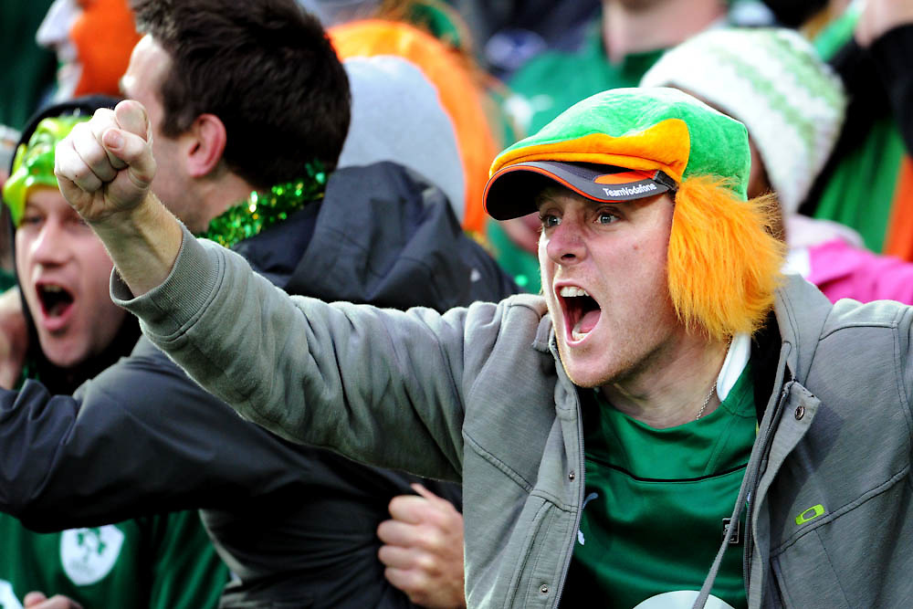 Irish fans cheering on their team during the Quarterfinal, Ireland v Wales at the IRB Rugby World Cup 2011. Wellington Regional Stadium, Wellington. Saturday 8 October 2011...Photo: Mark Tantrum/photosport.co.nz