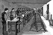Welding bicycle frames in an American factory (not named). Wood engraving Leipzig 1900.
