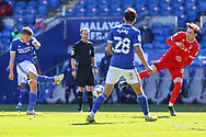 Cardiff City's Will Vaulks (6) shoots for goal during the EFL Sky Bet Championship match between Cardiff City and Nottingham Forest at the Cardiff City Stadium, Cardiff, Wales on 2 April 2021.