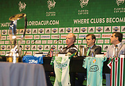 01/07/2018. Orlando, USA.  <br /> Press event to launch the 2018 Florida Cup.<br /> <br /> Rangers Assistant Manager Jimmy Nicol with reps of other teams . <br /> <br /> At  Universal Resort, Orlando.<br /> Pic: Mark Davison /PLPA