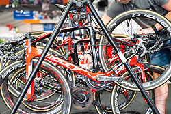 January 10, 2019 - Caleb Ewan (Lotto-Soudal) bike being prepared by a mechanic prior to a training ride,Tour Down Under, Australia on the 10 of January 2019  (Credit Image: © Gary Francis/ZUMA Wire)