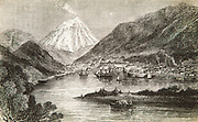 Petropavlosk, capital of Kamchatka, Siberia with active volcano Koriatski behind, from book Reindeer, Dogs & Snowshoes by Richard Bush, New York, 1871.